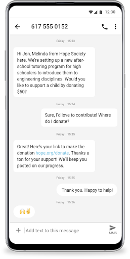Check out this example of using bots to drive donations.
