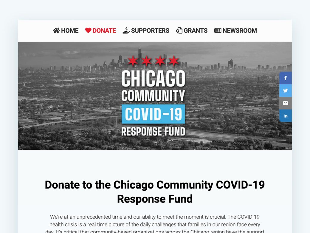 Get some inspiration for your online fundraising with this campaign example from the Chicago Community COVID-19 Response Fund.