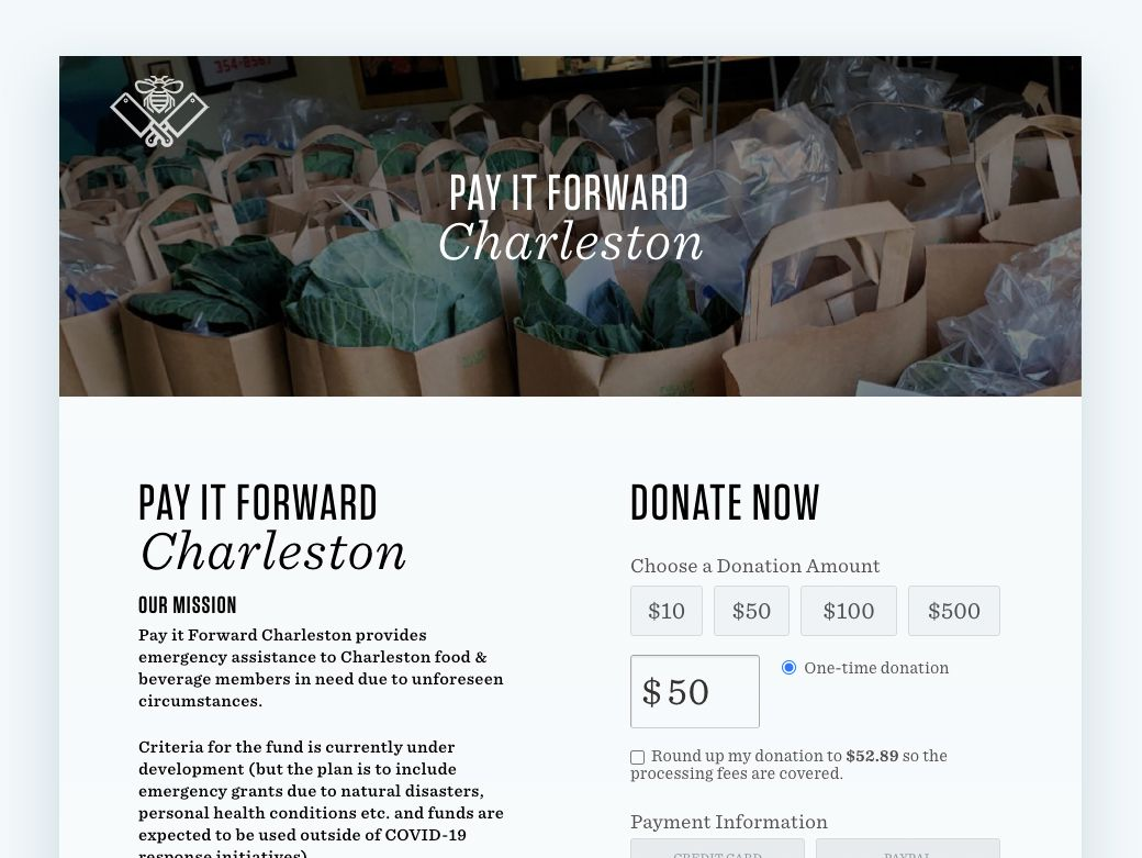 Check out this online fundraising idea in action with Pay It Forward Charleston's online donation page.