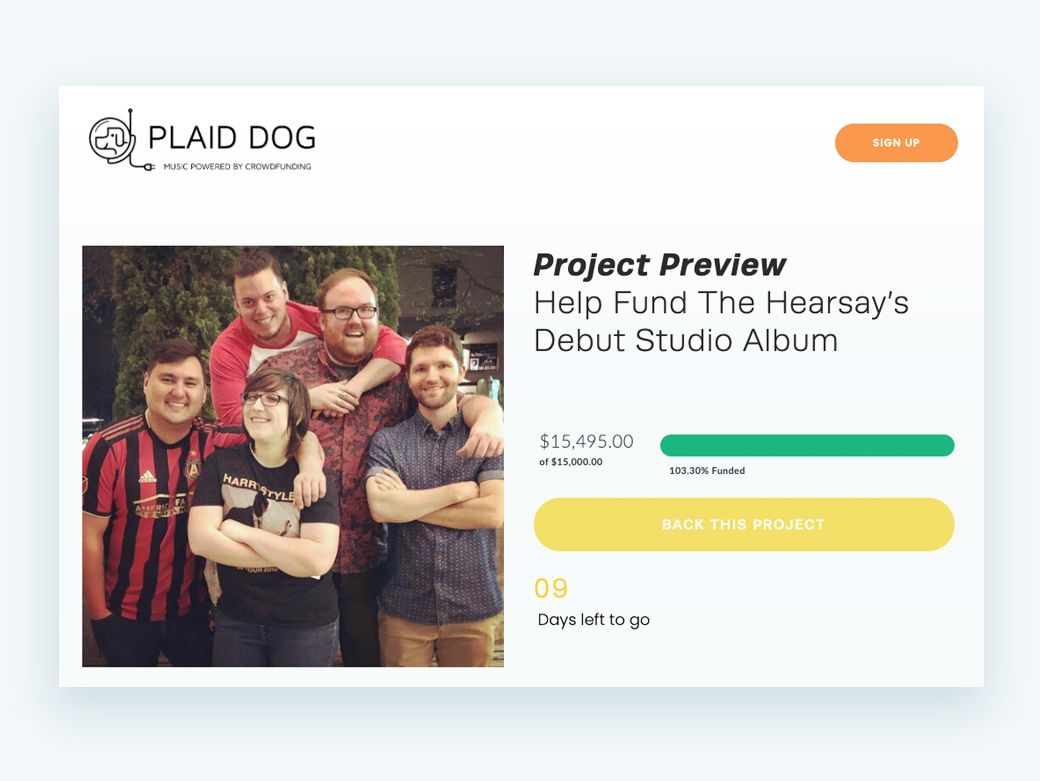 See how the Hearsay took advantage of crowdfunding when online fundraising for their studio album with Plaid Dog Recording Studio.