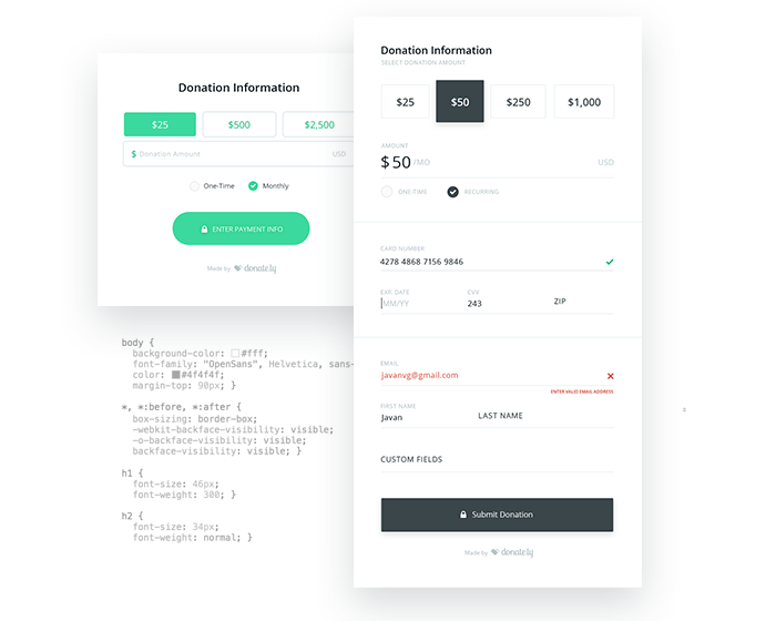 Donately enables you to fully customize your donation form fields.