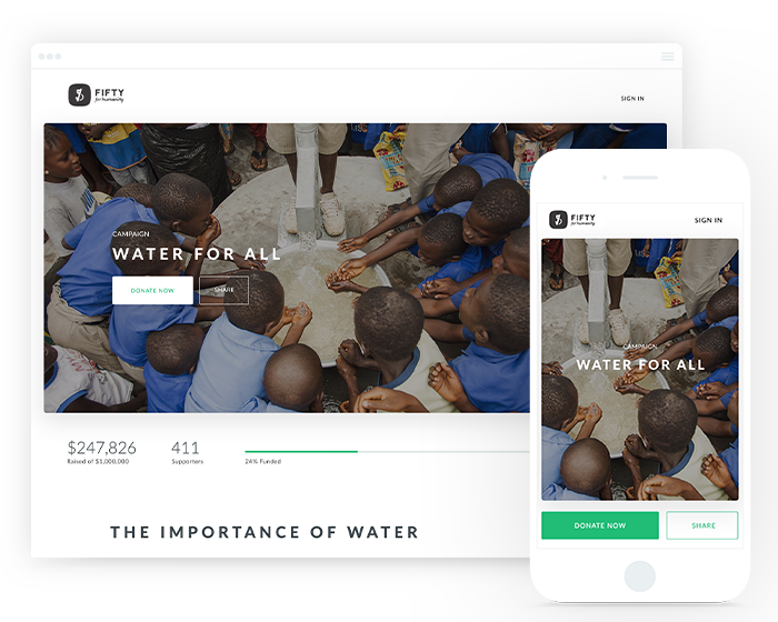 Include powerful imagery on your donation page.