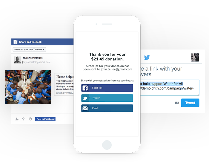 Social media is a great way to share your donation form.