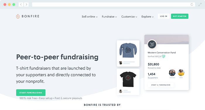 Take a look at Bonfire's fundraiser website for t-shirt fundraising.