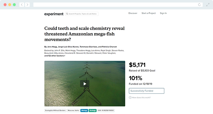 If you're fundraising for the scientific community, take a look at Experiment's fundraiser website.