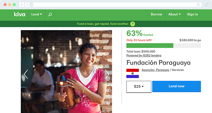 Here's an example of a campaign run through Kiva's fundraiser website.