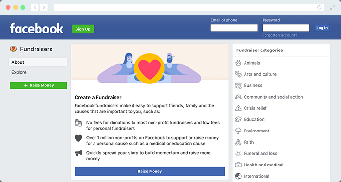 Harness the power of social media with Facebook Fundraisers' online donation platform.