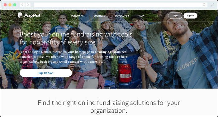 PayPal provides nonprofits with great donation tools for payment processing.